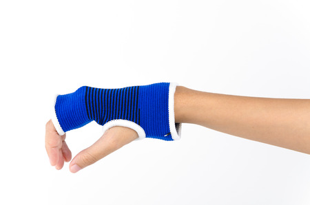 broken wrist: Wrist splint hand isolated white background Stock Photo