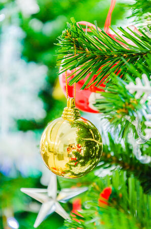 Decorate Christmas tree using as background Stock Photo - 27802468
