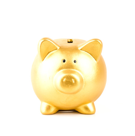 piggie bank: gold piggy bank isolated white background