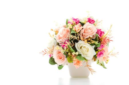flores de cumplea�os: Ramo de flores aisladas en blanco Foto de archivo