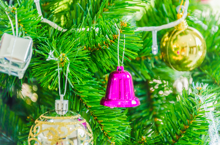 Decorate Christmas tree using as background Stock Photo - 28063278