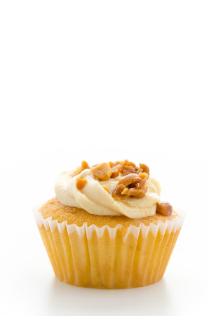 cupcakes isolated: Nuts cupcake isolated on white background