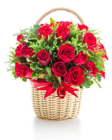 Rose basket isolated on white