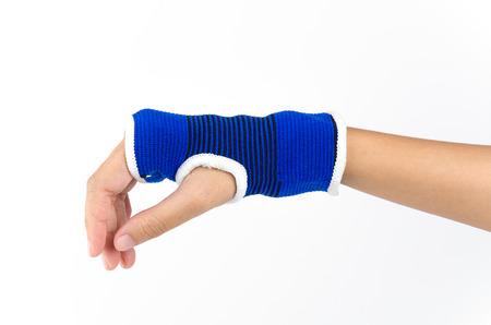 splint: Wrist splint hand isolated white background Stock Photo