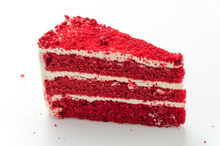 Red velvet cake isolated on white background photo