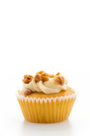 Nuts cupcake isolated on white background photo