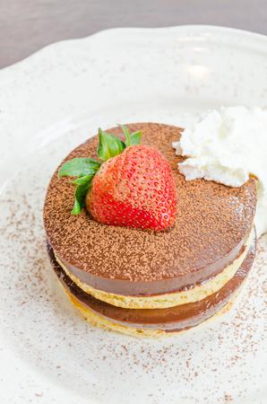 Strawberry Chocolate pudding pancake Stock Photo - 28385388