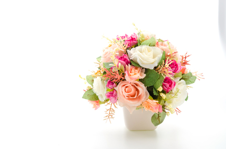 Bouquet flowers isolated on white photo