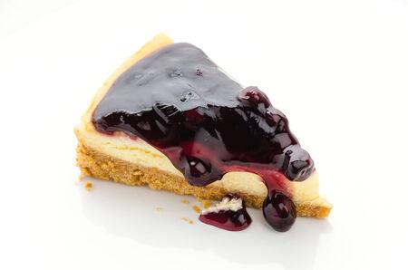 Blueberry cheesecake isolated white background photo