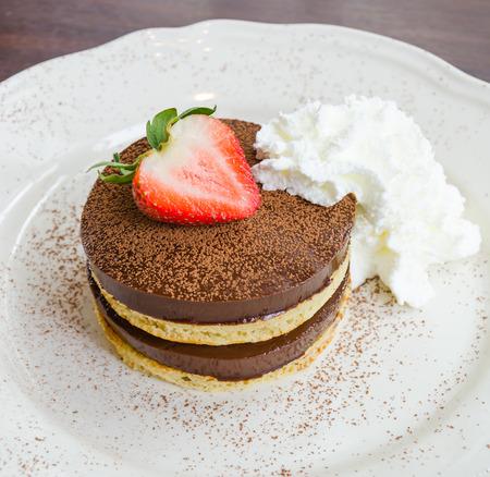 Strawberry Chocolate pudding pancake Stock Photo - 28473088