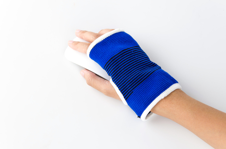 Wrist splint hand isolated white background photo