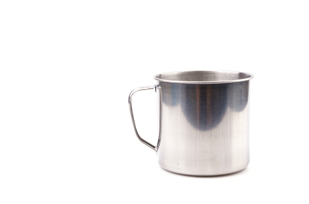 Stainless steel cup isolated white background photo