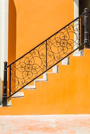 Staircase brick wall photo