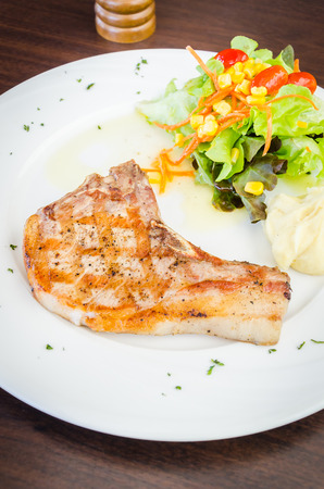 Pork chops steak photo