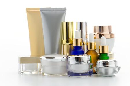 Cosmetics bottle isolated on white photo