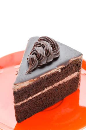 Chocolate cake isolated on white  photo