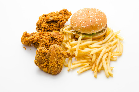 chicken burger: Junk food isolated on white
