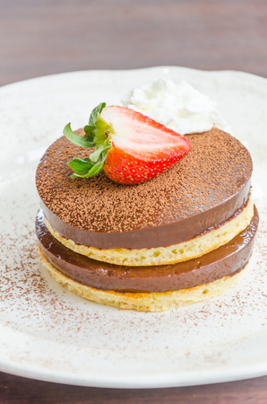 Strawberry Chocolate pudding pancake photo