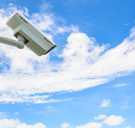 Cctv on blue sky photo