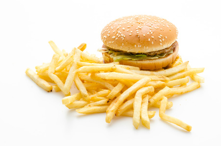 Hamburger and french fries isolated on white photo