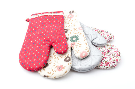 Oven gloves isolated white background Stock Photo