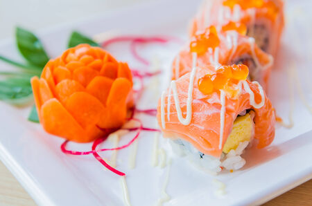 Salmon roll sushi photo