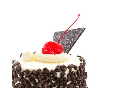 Black forest cake isolated on white photo