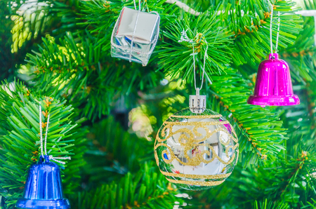 Decorate Christmas tree using as background Stock Photo - 28982041