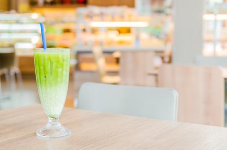 Iced green tea latte photo