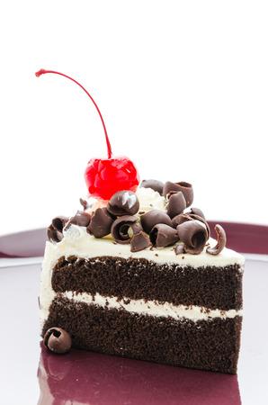 Black forest cake isolated on white background photo