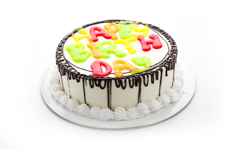 pasteles de cumpleaños: Tarta de cumpleaños feliz aislado en blanco