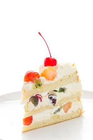 fruit cake: Fruit cake isolated on white background