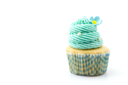 cupcakes isolated: Vanilla cupcakes isolated white background
