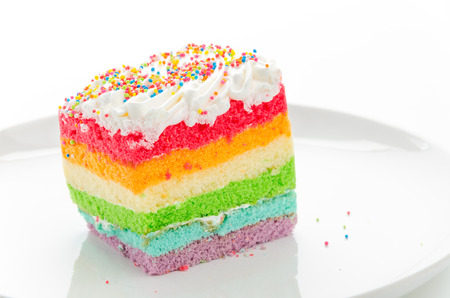 Rainbow cake isolated on white photo