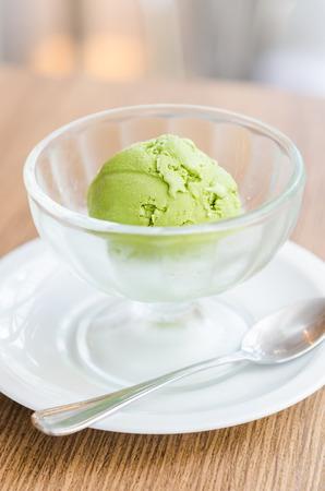 cream and green: Ice cream green tea