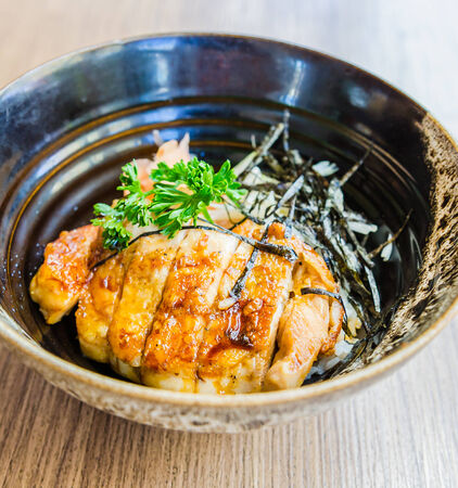 Teriyaki chicken on rice photo