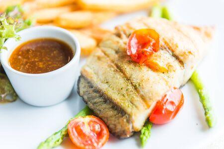 barramundi: Barramundi fish steak Stock Photo
