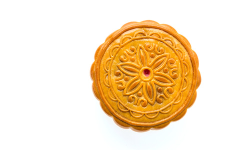 Moon cake isolated on white photo