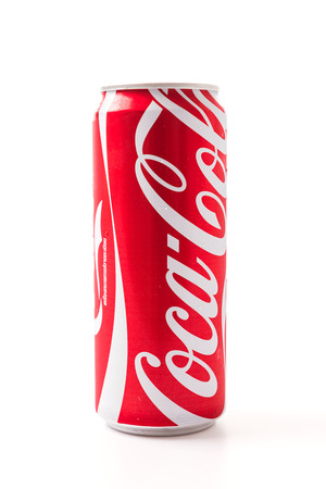 Bangkok Thailand - July 6, 2014 Editorial photo of Classic Coca-Cola can on White Background. Coca-Cola Company is the most popular market leader in Thailand.