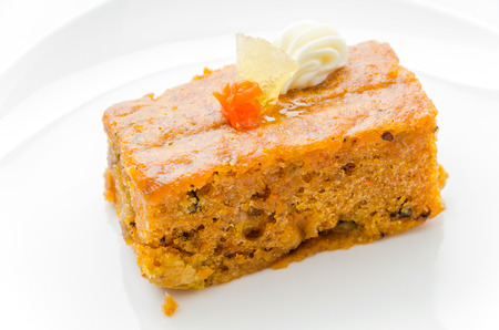 butter icing: Carrot cake Stock Photo