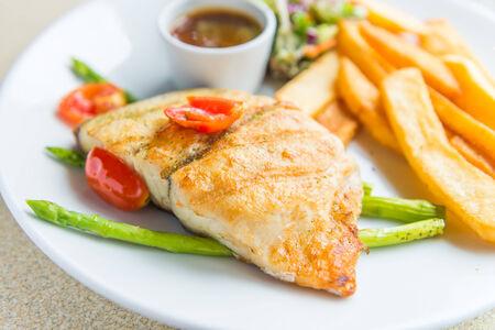 pangasius: Barramundi fish steak Stock Photo