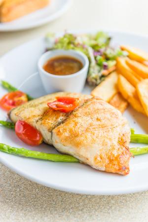 coalfish: Barramundi fish steak Stock Photo