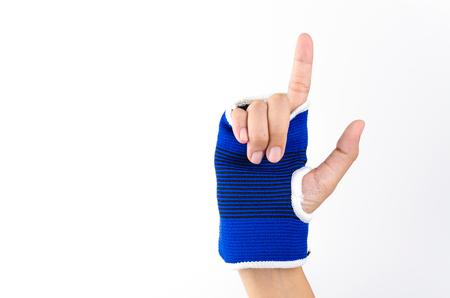 splint: Fondo blanco aislado mu�eca f�rula mano Foto de archivo