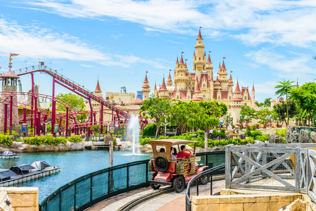 SINGAPORE-JUNE 25: beautiful castle and roller coaster in Universal studio on JUNE 25, 2014. Universal Studios Singapore is theme park located within Resorts World Sentosa,Singapore. Editorial