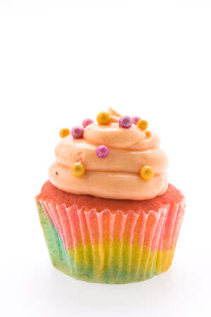 Colorful cupcakes isolated on white photo