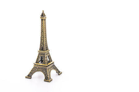 Eiffel Tower toy isolated on white background photo