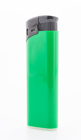 Green lighter isolated on white background photo