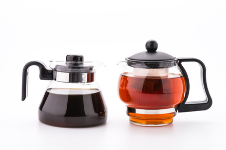 Tea pot and coffee pot isolated on white background photo