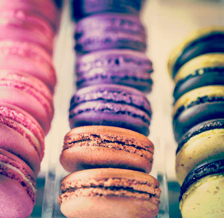 Macaroon process in vintage style photo