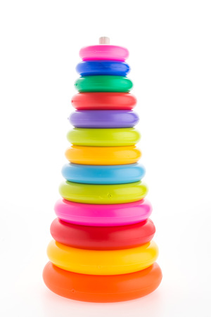 Toy tower isolated on white background photo